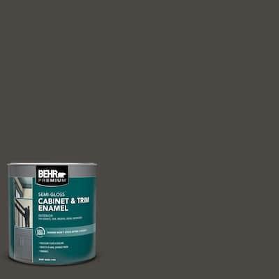 1 qt. #PPU24-01 Black Mocha Semi-Gloss Enamel Interior Cabinet and Trim Paint