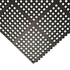 Dura-Chef Interlock 5/8 in. x 36 in. x 36 in. Black Kitchen Mat
