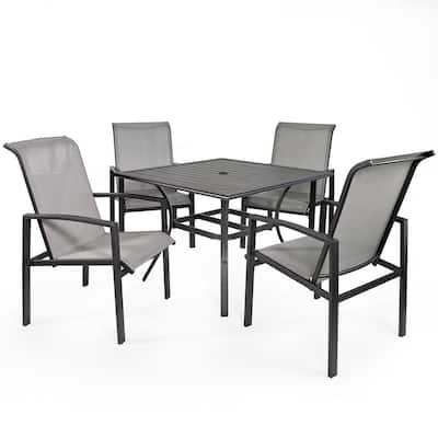 Vienna 5-Piece Metal Sling Square Outdoor Patio Dining Set