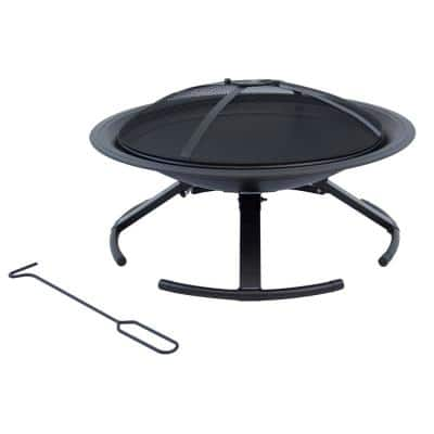Stow N Go Portable 26 in. W x 15.5 in. H Round Steel Wood Burning Fire Pit with Canvas Carry Bag