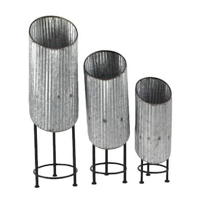 Modern Gray Cylinder Metal Planters (Set of 3)