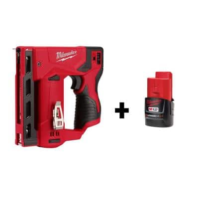 M12 12-Volt Lithium-Ion Cordless 3/8 in. Crown Stapler with M12 2.0Ah Battery