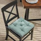 North Shore 16 in. x 3.15 in. Teal Square Tufted Outdoor Chair Cushion