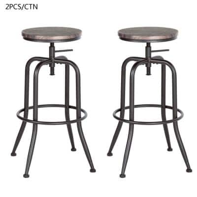 Anacletus 27.2-30.3 in. Walnut Color Industrial Style Bar Stool (Set of 2)