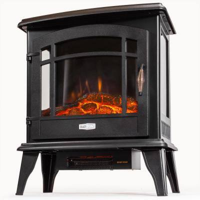 20 in. 1500-Watt Freestanding Compact Electric Infrared Quartz Fireplace Heater w/3-Sided Glass Panels in Vintage Black