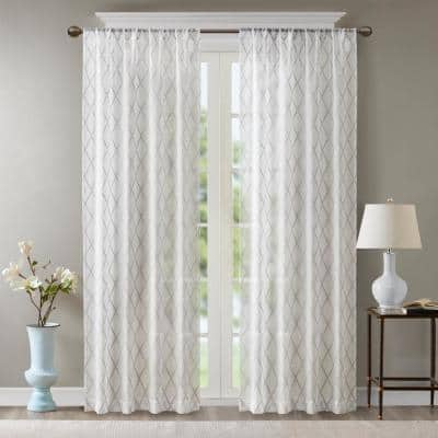 White/Grey Abstract Embroidered Rod Pocket Sheer Curtain - 50 in. W x 84 in. L