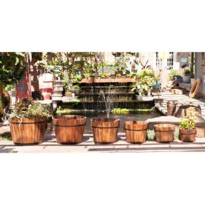 23 in. Dia x 17 in. H Wooden Whiskey Barrel Planters (Set of 6)