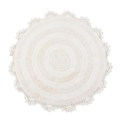Ivory 3 ft. Round Winchester Cotton Crochet Border Bath Mat