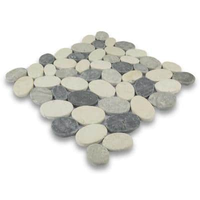 Pebble Marble Tile White/Sterling/Grey 11-1/2 in x 11-1/2 in x 9.5mm Mesh-Mounted Mosaic Tile (10.12 sq. ft. / case)