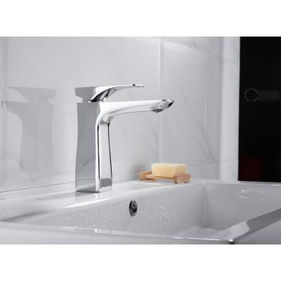 Single Hole Single-Handle Bathroom Faucet with Drains in Polished Chrome