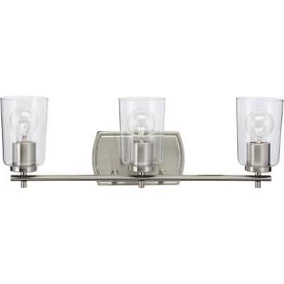 Adley Collection 3-Light Brushed Nickel Clear Glass New Traditional Bath Vanity Light