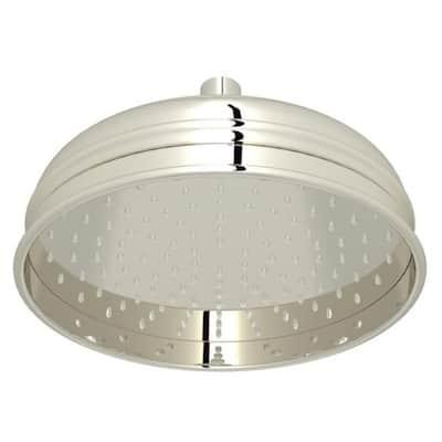 1-Spray 8 in. Single Wall Mount Fixed Rain Shower Head in Polished Nickel