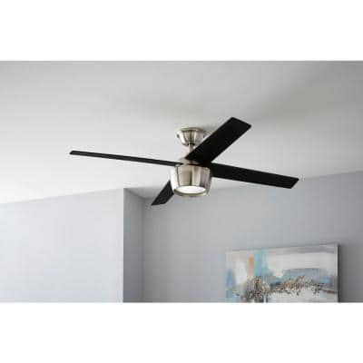 Havenstone 52 in. Integrated LED Indoor Brushed Nickel Ceiling Fan with Light and Remote Control
