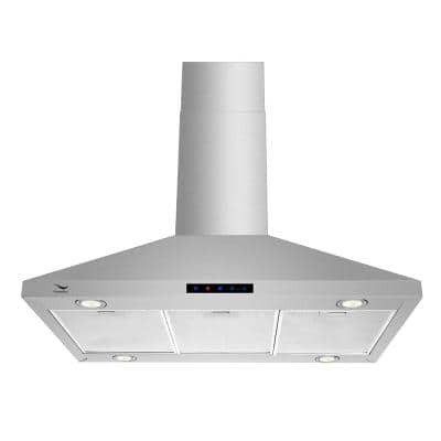 36 in. Convertible Island Mount Range Hood in Stainless Steel with Aluminum Mesh Filters, LED Lights, Touch Control