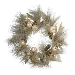 24 in. Unlit Glitter Champagne Gold Pomegranate Apple Pine Cone and Berry Christmas Wreath