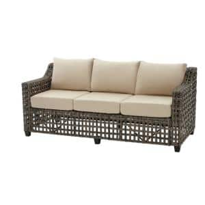 Briar Ridge Brown Wicker Outdoor Patio Sofa with Sunbrella Beige Tan Cushions