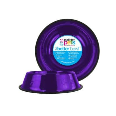 Embossed Non-Tip Stainless Steel Cat/Dog Bowl, Electric Purple
