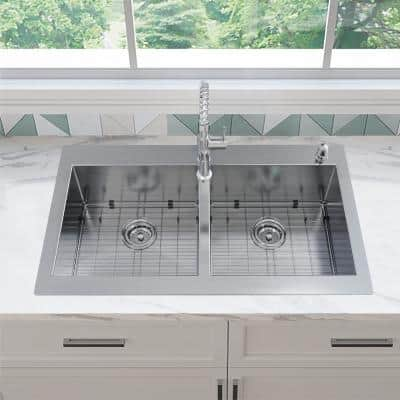 Zero Radius All-in-One Drop-in/Undermount 16-Gauge Stainless Steel 36 in. Double Bowl Kitchen Sink with Faucet