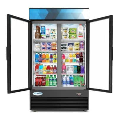 45 in. W 35 cu. ft. Commercial Upright Display Refrigerator with 2 Swing Glass Door Beverage Cooler in Black