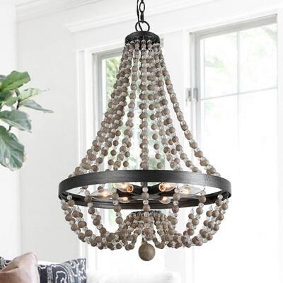 Boho 6-Light Black Kitchen Island Empire Chandelier with Wood & Crystal Beads Modern Farmhouse Beachy Chic Ceiling Light