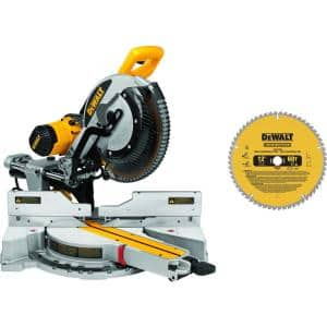 15 Amp Corded 12 in. Double-Bevel Sliding Compound Miter Saw with Bonus 20 Series 12 in. 60T Fine Finish Saw Blade