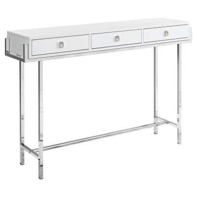 48 in. White Standard Rectangle Console Table with Drawers