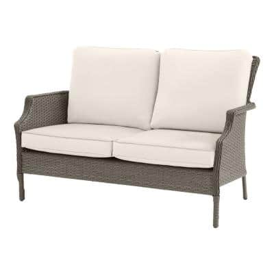 Grayson Ash Gray Wicker Outdoor Patio Loveseat with CushionGuard Almond Cushions