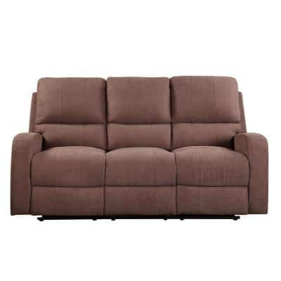 74 in. Brown Fabric 6-Seater Bridgewater Sofa with Square Arms
