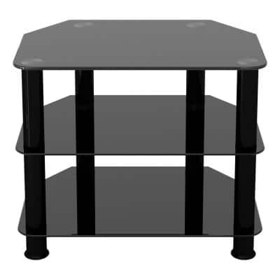 SDC600BB–A TV Stand for TVs UP TO 32–inch, Black Glass, Black Legs, 60cm
