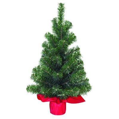 24 in. 65-Tip Table Top Tree with Red Sack