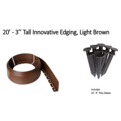 20 ft. L x 2 in. W x 3 in. H Light Brown Tall Resin Innovative Edge No Dig Edging with 9 in. Poly Stakes (10-Quantity)