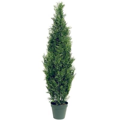 60 in. Artificial Arborvitae Tree in Dark Green Round Growers Pot