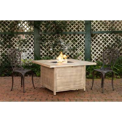 Langhorne 40 in. x 24 in. Square Aluminum Propane Fire Pit Table in Driftwood