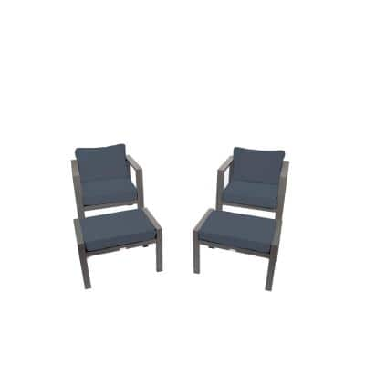 Lakeview Aluminum Outdoor Club Chair Set with Navy Cushions and Ottomans (2-Pack)