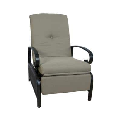 Black Metal Outdoor Recliner with Beige Cushions for Outdoor Reading, Sunbathing or Relaxation