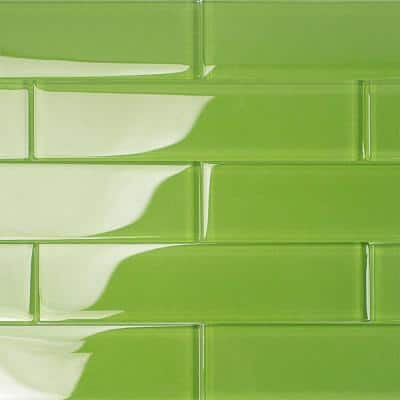 Contempo Apple Lime 2 in. x 8 in. x 8mm Polished Glass Floor and Wall Tile (36 pieces 4 sq.ft./Box)