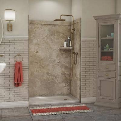 Elegance 36 in. x 48 in. x 80 in. 9-Piece Easy Up Adhesive Alcove Shower Wall Surround in Mocha Travertine