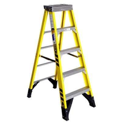 5 ft. Yellow Fiberglass Step Ladder with 375 lb. Load Capacity Type IAA Duty Rating