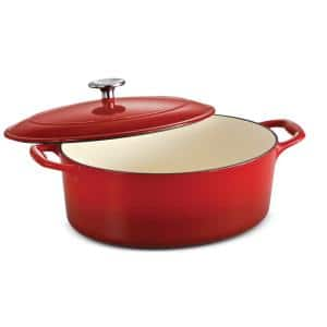 Gourmet 5.5 qt. Oval Enameled Cast Iron Dutch Oven in Gradated Red with Lid