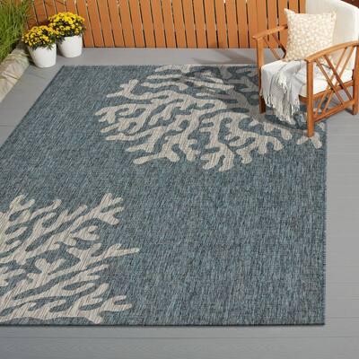 Captiva Blue / Gray 7 ft. 9 in. x 9 ft. 5 in. Rectangle Indoor/Outdoor Area Rug