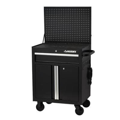 27 in. W 1-Drawer 2-Door Tool Chest Rolling Cabinet in Gloss Black with Flip-up Pegboard