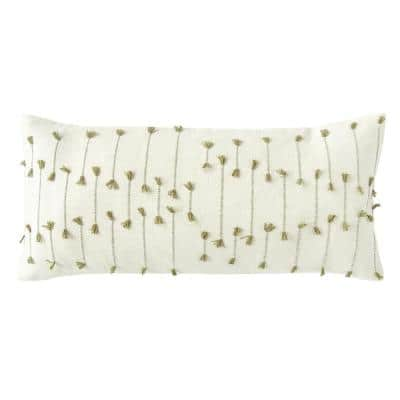 White with Green Accents Handwoven Lumbar 36 in. x 16 in. Throw Pillow