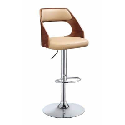 Modish 37 in. H Beige and Walnut Brown Adjustable Stool with Swivel