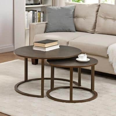 27.5 x 27.5 x 16 in Round Metal Bronze Hayes Nesting Coffee Table 2-Piece Set