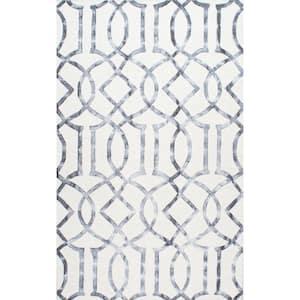 Satara Moroccan Trellis Silver 8 ft. x 10 ft. Area Rug
