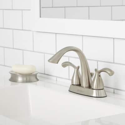 Edgewood 4 in. Centerset 2-Handle High-Arc Bathroom Faucet in Brushed Nickel