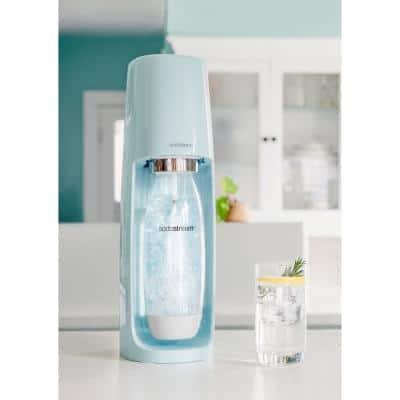 Fizzi Icy Blue Sparkling Water Maker with Raspberry Drops and Lemon Fruit Drops