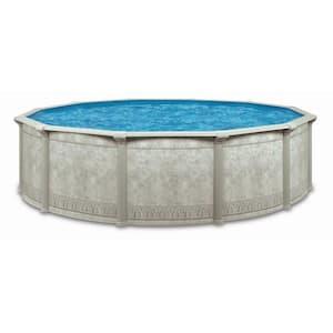 Dynasty Khaki Venetian 15 ft. x 52 in. Round Above Ground Swimming Pool