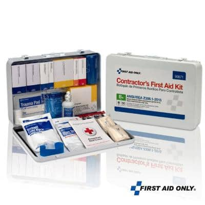 50-Person, Contractor Metal ANSI B Plus Metal First Aid Kit