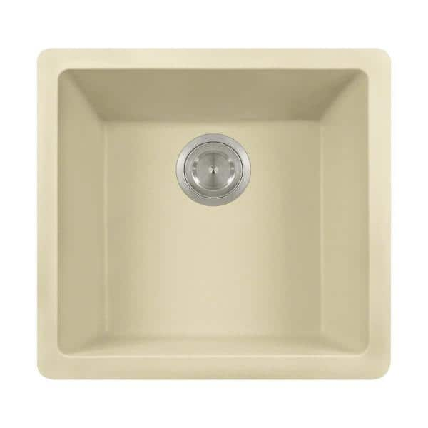 Mr Direct Beige Quartz Granite 18 In Single Bowl Dualmount Kitchen Sink 805 Beige The Home Depot